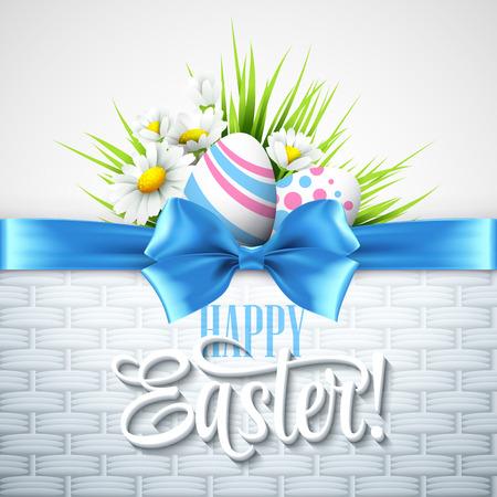 De felicitación de Pascua con huevos y flores. Ilustración vectorial Ilustración de vector