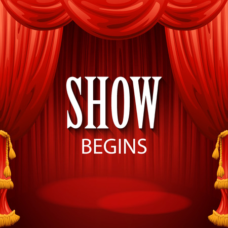 curtain to theater stage: Red curtains. Theater scene. Vector illustration EPS10