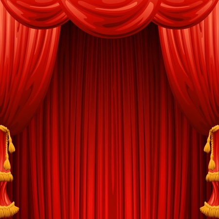 red stage curtain: Red curtains. Theater scene. Vector illustration