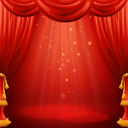 show window: Red curtains. Theater scene. Vector illustration