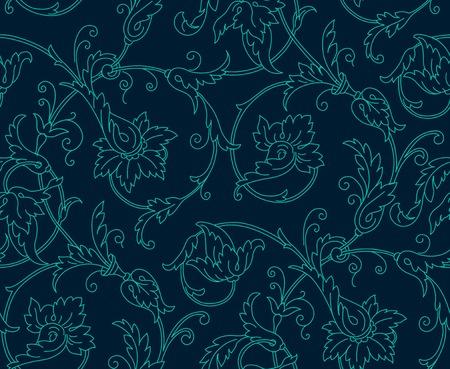 Luxury Damask seamless pattern. Blaue Farbe. Vektor-Illustrationen