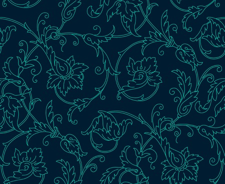 ornaments floral: Luxury Damask seamless pattern. Blue color. Vector illustrations