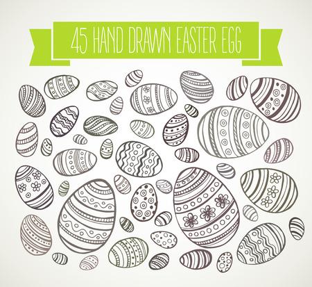 Hand drawn Easter eggs. Vector illustration EPS 10 Vector