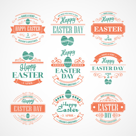 Set Easter Holiday typography. Vector illustration EPS 10 Vector