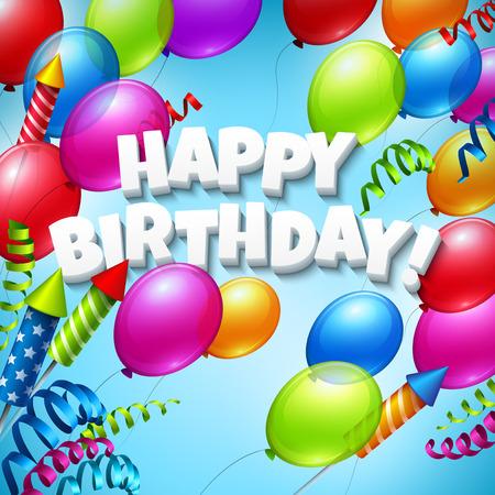 globos de cumpleaños: Feliz cumpleaños con los globos. Ilustración vectorial