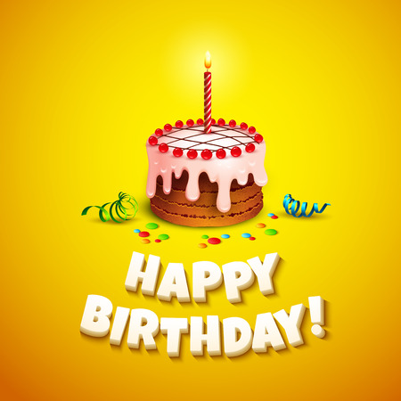 cartoon party: Happy birthday greeting card with cake. Vector illustration Illustration