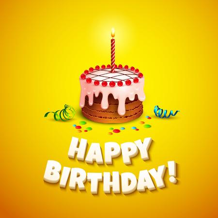 felicitaciones cumplea�os: Tarjeta de felicitaci�n de cumplea�os feliz con la torta. Ilustraci�n vectorial Vectores