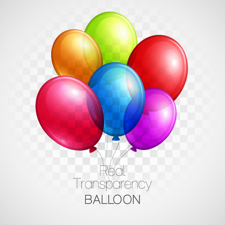 globos de cumpleaños: Globos festivos verdadera transparencia. Ilustración del vector EPS 10 Vectores