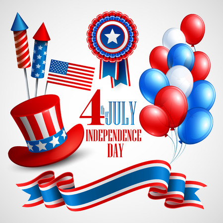 4th: Independence Day holiday symbols. Vector illustration  Illustration
