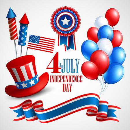 jul: S�mbolos de vacaciones D�a de la Independencia. Ilustraci�n vectorial