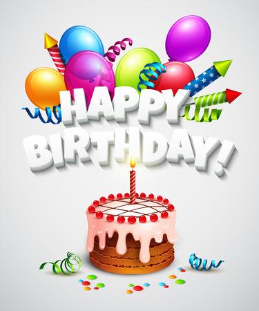 torta candeline: Buon compleanno biglietto di auguri con torta e palloncini. Illustrazione vettoriale Vettoriali