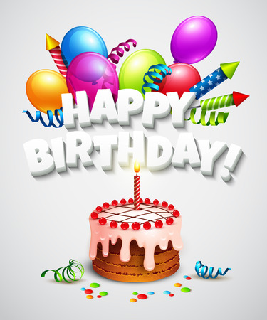 Happy birthday greeting card with cake and balloons. Vector illustration