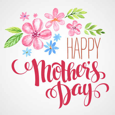 happy holidays text: Happy Mothers Day. Hand-drawn card. Vector illustration