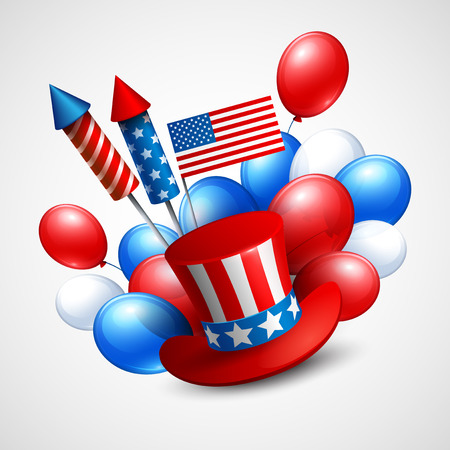 Independence Day holiday symbols. Vector illustration EPS 10 Vector