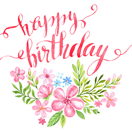 birthday flowers: Happy Birthday Hand-drawn card. Vector illustration EPS 10 Illustration