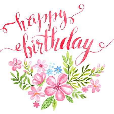 flores de cumpleaños: Tarjeta del feliz cumpleaños a mano dibujada. Ilustración del vector EPS 10