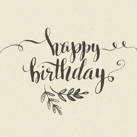 happy birthday text: Happy Birthday Hand-drawn card. Vector illustration EPS 10 Illustration