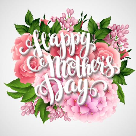 幸せな母の日。美しい花とカード。ベクトル イラスト EPS 10  イラスト・ベクター素材