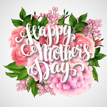 mommy: Happy Mothers Day. Card with beautiful flowers. Vector illustration EPS 10