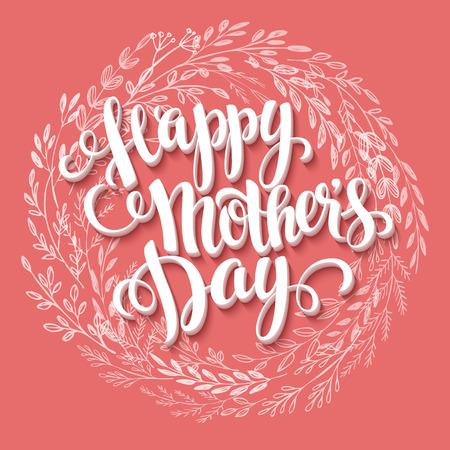 mamá: Feliz d�a de la Madre. Mano dibujada tarjeta. Ilustraci�n del vector EPS 10