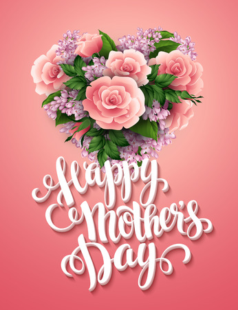 birth day: Happy Mothers Day. Card with beautiful flowers. Vector illustration EPS 10