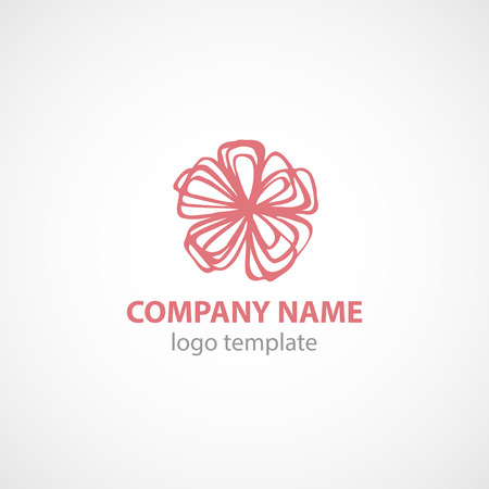 Logo Vector Template with flower. EPS 10