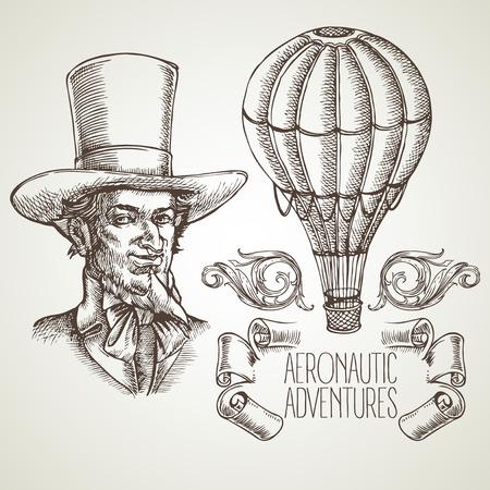 aeronautic: Aeronautic adventure. Vector vintage illustration with balloon EPS 10