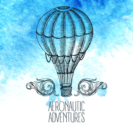 hands in the air: Aeronautic adventure. Vector vintage illustration with balloon EPS 10