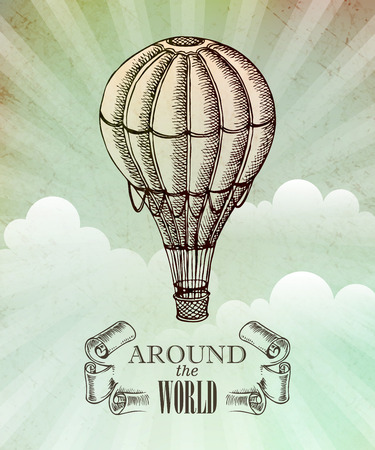 Aeronautic adventure. Vector vintage illustration with balloon EPS 10