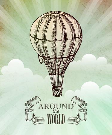 Aeronautic adventure. Vector vintage illustration with balloon EPS 10