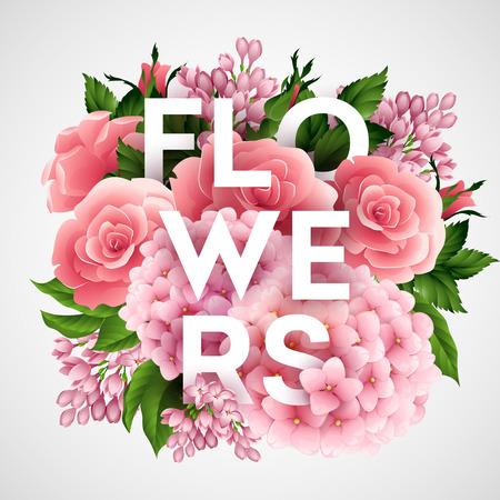 mazzo di fiori: Elegante manifesto vettore con bellissimi fiori 10 EPS Vettoriali