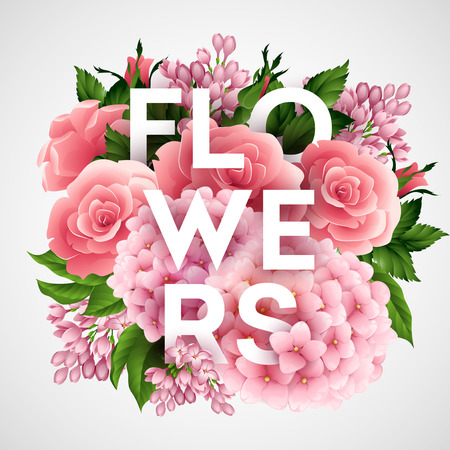 flower: Stylish vector poster with beautiful flowers EPS 10