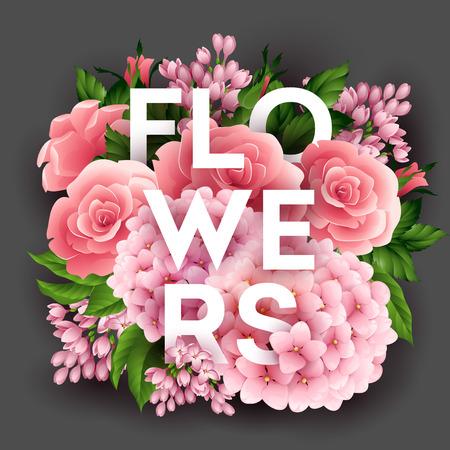 Affiche de vecteur élégant avec de belles fleurs EPS 10 Banque d'images - 38424588
