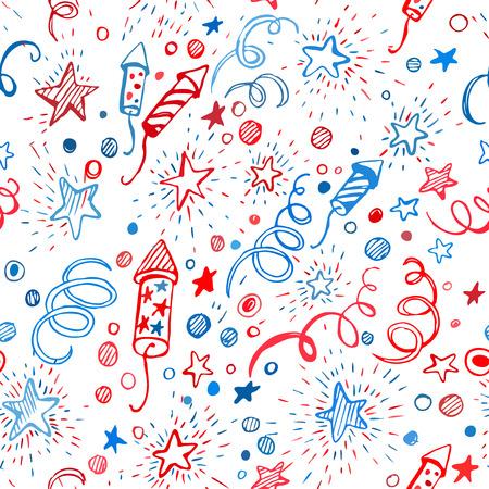 jul: 4 de julio. D�a de la Independencia Americana. Dibujado a mano patr�n transparente EPS10