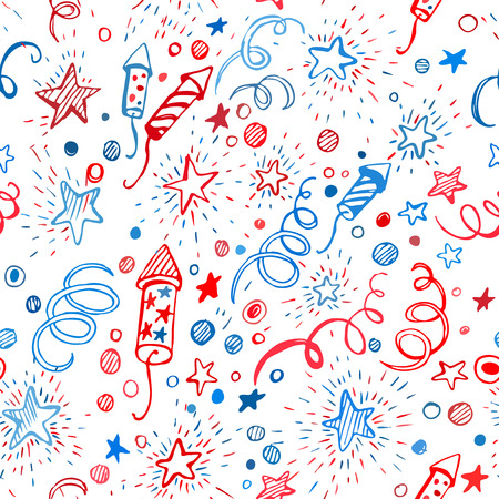 7 月 4 日。アメリカの独立記念日。手描きのシームレスなパターン EPS10  イラスト・ベクター素材