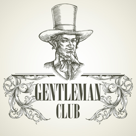 19th century style: Gentlemens club. Vintage vector illustration EPS 10