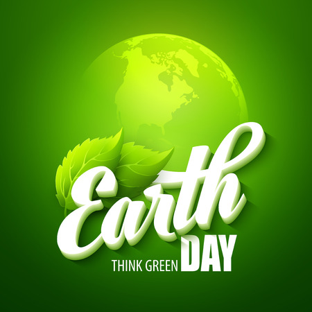 concept day: Earth Day. Vector illustration with the words, planets and green leaves EPS 10