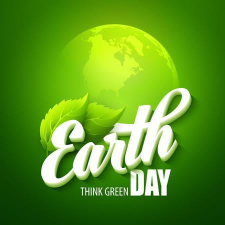 planeten: Tag Der Erde. Vektor-Illustration mit den Worten, Planeten und grüne Blätter EPS 10 Illustration