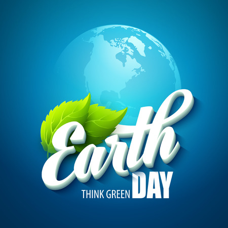 Earth Day. Vector illustration with the words, planets and green leaves EPS 10