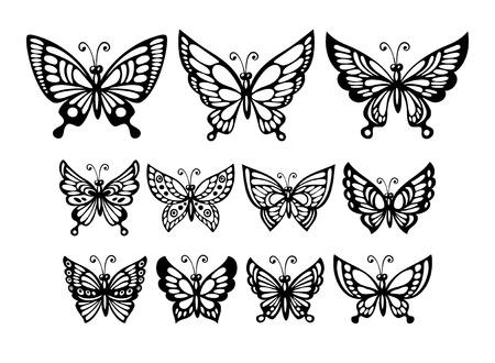 farfalla tatuaggio: Set di silhouette meravigliose farfalle. Illustrazione vettoriale Vettoriali