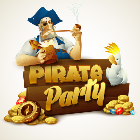 captain ship: Pirate party poster. Vector illustration