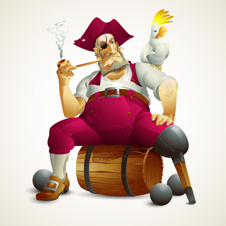 sailor hat: Vector illustration with the image of a pirate