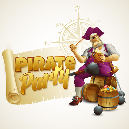 Pirate party poster. Vector illustration EPS 10 Vector