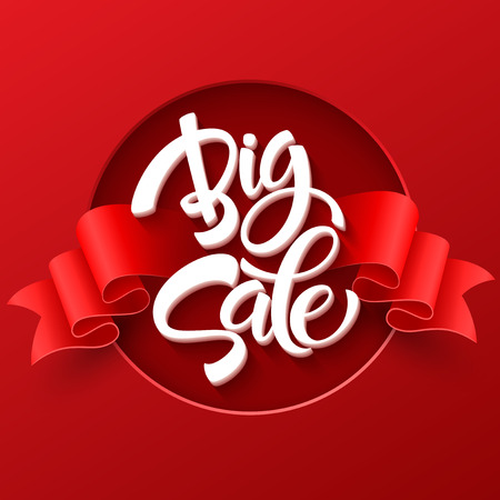 discount banner: Big Sale Inscription. Calligraphy. Lettering. Vector illustration EPS 10