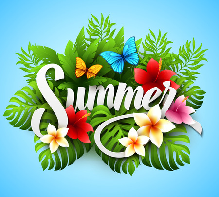 Inscription summer. Vector illustration with tropical plants and flowers