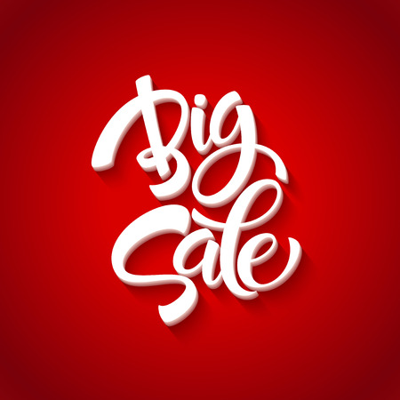 red and white: Big Sale Inscription. Calligraphy. Lettering. Vector illustration EPS 10