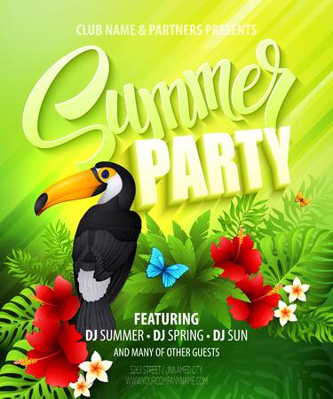playas tropicales: Fiesta de verano. Cartel plantilla. Ilustración vectorial