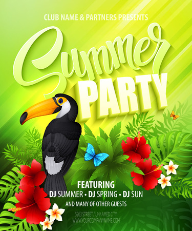 sun beach: Summer party. Template poster. Vector illustration Illustration