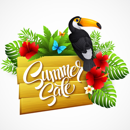 bird of paradise: Vector illustration with tropical plants and flowers