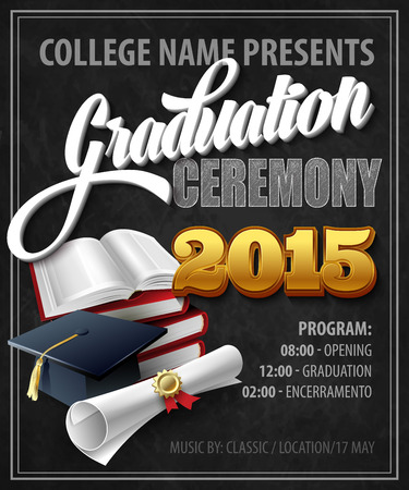 graduate student: Graduation Ceremony. Poster template. Vector illustration